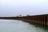 Il Mose in costruzione nei cantieri alla bocca di porto di Malamocco. Venezia, 6 marzo, 2007........   <br /> Building site of Mose at Malamocco. Venice, March 6, 2007