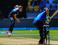 Tim Southee bowls to Ian Bell during the ICC Cricket World Cup one day pool match between the New Zealand Black Caps and England at Wellington Regional Stadium, Wellington, New Zealand on Friday, 20 February 2015. Photo: Dave Lintott / lintottphoto.co.nz