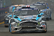 Washington, DC - June 22, 2014: Ken Block drives the #43 Ford Fiesta into Turn 10 during the final supercar race of the  Red Bull Global Rallycross on the grounds of RFK Stadium in the District of Columbia, June 22, 2014.  (Photo by Don Baxter/Media Images International)