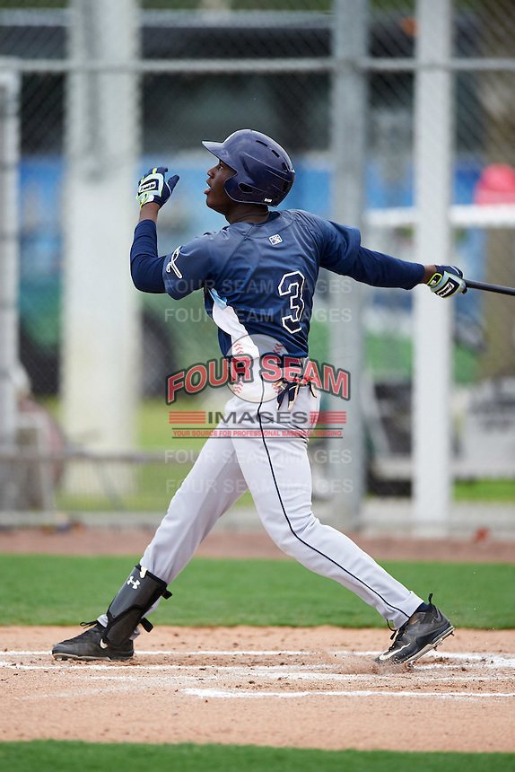 GCL Rays right fielder Jesus Sanchez (3) at bat during the second game of a doubleheader against the GCL Red Sox on August 9, 2016 at JetBlue Park in Fort Myers, Florida.  GCL Rays defeated GCL Red Sox 9-1.  (Mike Janes/Four Seam Images)