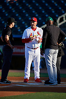 Palm Beach Cardinals manager Dann Bilardello (11) during the lineup exchange before a Florida State League game against the Daytona Tortugas on April 11, 2019 at Roger Dean Stadium in Jupiter, Florida.  Palm Beach defeated Daytona 6-0.  (Mike Janes/Four Seam Images)