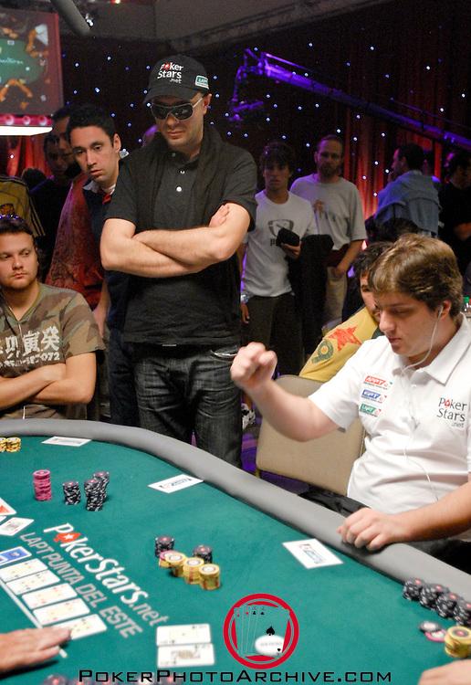 Pokerstars sponsored player Pavel Naydenovis eliminted by Felipe Ivar Do Sul Machado, who does a fist pump.