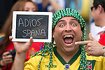 Fans, JUNE 18, 2014 - Football / Soccer : A fan holds a sign in the stands reading 'Goodbye Spain' during the FIFA World Cup Brazil 2014 Group B match between Spain 0-2 Chile at Maracana Stadium in Rio de Janeiro, Brazil. (Photo by Maurizio Borsari/AFLO)