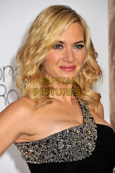 "KATE WINSLET.""Revolutionary Road"" Los Angeles Premiere at Mann's Village Theatre, Westwood, California, USA..December 15th, 2008.headshot portrait black jewel encrusted one shoulder .CAP/ADM/BP.©Byron Purvis/AdMedia/Capital Pictures."