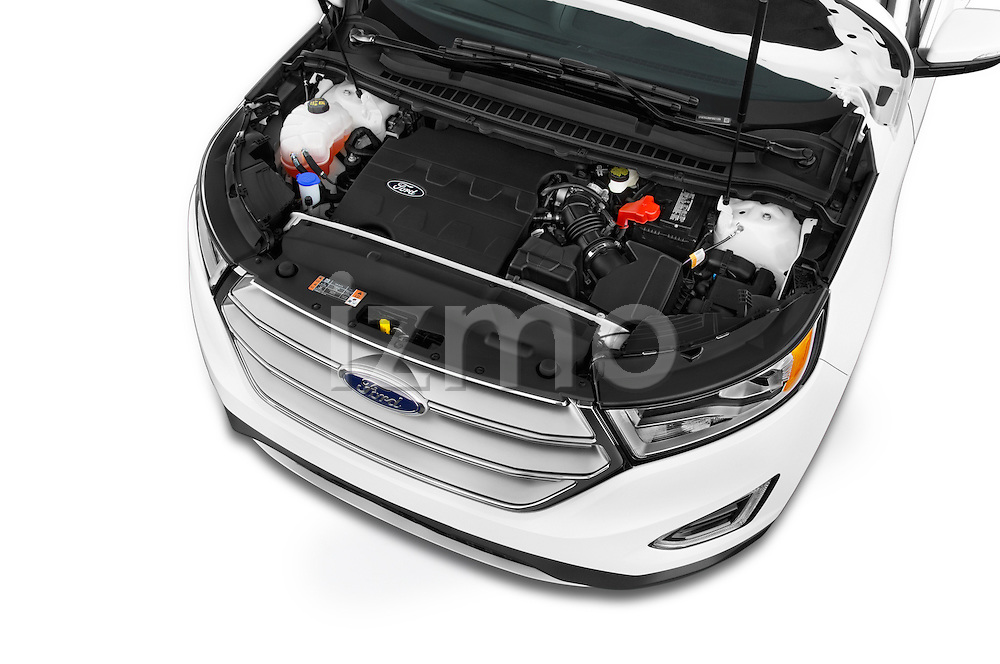 Car Stock 2015 Ford Edge SEL 5 Door Suv Engine high angle detail view