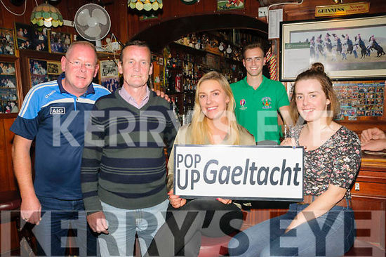 Pop Up Gaeltacht:  Pictured at Mike the Pies Bar, Listowel to announce the launch the Pop Up Gaeltacht programme were Stephen O'Neill, PJ Kelliher, Ailish Ni Shuilleabhain, Darren Loughnane & Geraldine Walsh.