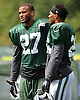 Dee Milliner #27, New York Jets cornerback, left, stands alongside #26 Darryl Morris during training camp at Atlantic Health Jets Training Center in Florham Park, NJ on Wednesday, Aug. 17, 2016.