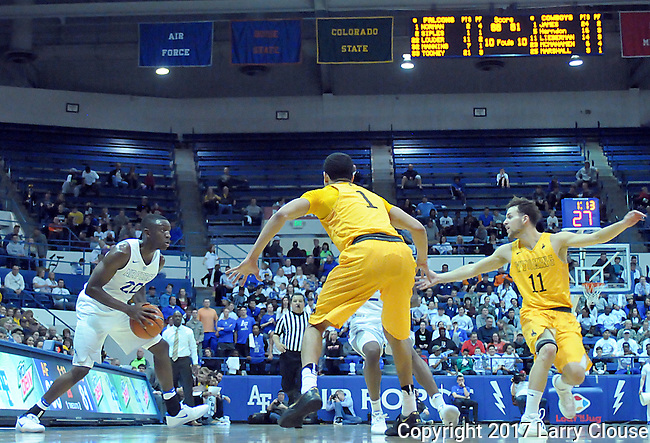 February 4, 2017:  Air Force guard, Pervis Louder #22, in action during the NCAA basketball game between the Wyoming Cowboys and the Air Force Academy Falcons, Clune Arena, U.S. Air Force Academy, Colorado Springs, Colorado.