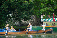 """Henley on Thames, United Kingdom, 3rd July 2018, Sunday,  """"Henley Royal Regatta"""",  Family outing, wooden clinker double skiff, learning young, View, Henley Reach, River Thames, Thames Valley, England, UK."""