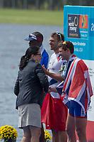 Sarasota. Florida USA. Men's Single Sculls. Medalist. Left, Silver Medalist. CUB M1X. FOURNIER RODRIGUEZ, Angel, midle. Gold Medalist, CZE M1X. SYNEK, Ondrej, right Bronze Medalist GBR M1X, Tom BARRAS. Sunday Final's Day at the  2017 World Rowing Championships, Nathan Benderson Park<br /> <br /> Sunday  01.10.17   <br /> <br /> [Mandatory Credit. Peter SPURRIER/Intersport Images].<br /> <br /> <br /> NIKON CORPORATION -  NIKON D4S  lens  VR 500mm f/4G IF-ED mm. 200 ISO 1/640/sec. f 8
