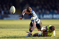 James Wilson of Bath Rugby offloads the ball after being tackled. Aviva Premiership match, between Bath Rugby and Sale Sharks on February 24, 2018 at the Recreation Ground in Bath, England. Photo by: Patrick Khachfe / Onside Images