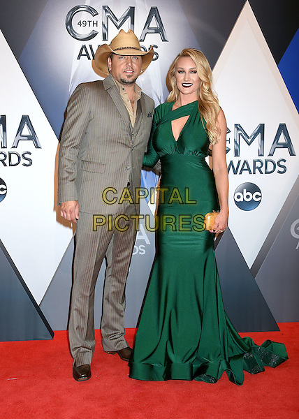 4 November 2015 - Nashville, Tennessee - Jason Aldean, Brittany Kerr. 49th CMA Awards, Country Music's Biggest Night, held at Bridgestone Arena. <br /> CAP/ADM/LF<br /> &copy;LF/ADM/Capital Pictures