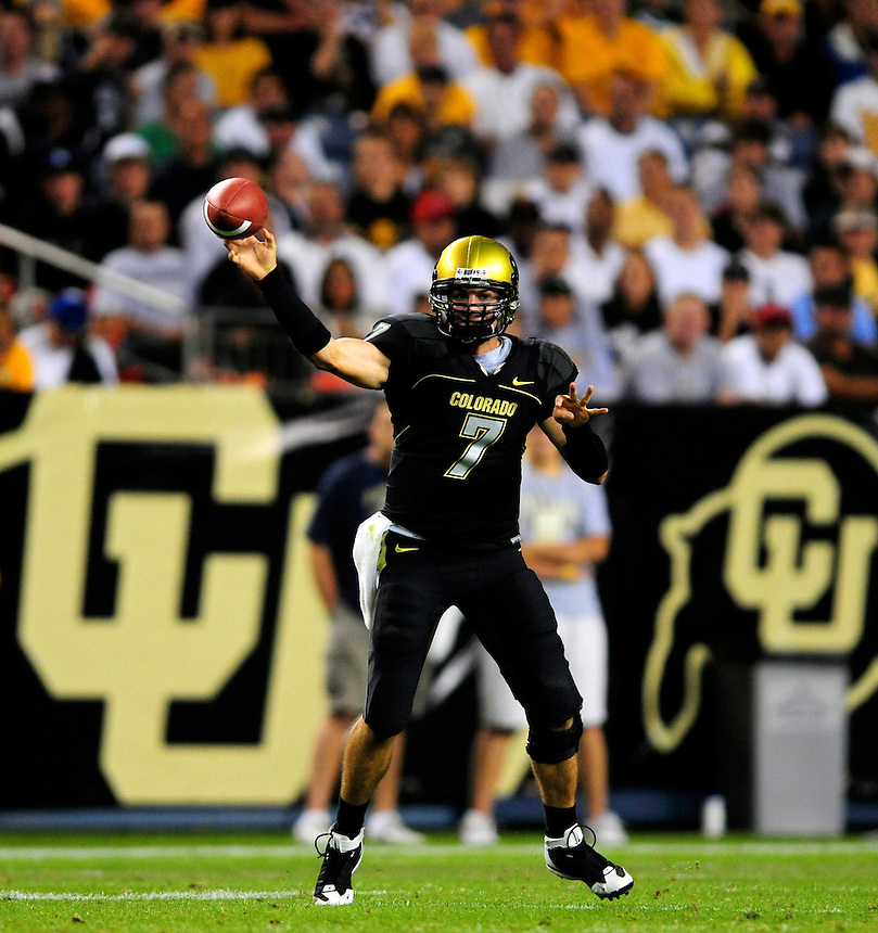 31 Aug 2008: Colorado quarterback Cody Hawkins passes against Colorado State. The Colorado Buffaloes defeated the Colorado State Rams 38-17 at Invesco Field at Mile High in Denver, Colorado. FOR EDITORIAL USE ONLY
