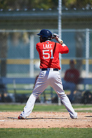 Boston Red Sox Junior Lake (51) bats during a minor league Spring Training game against the Baltimore Orioles on March 16, 2017 at the Buck O'Neil Baseball Complex in Sarasota, Florida. (Mike Janes/Four Seam Images)