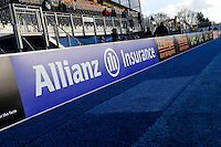 20130127 Copyright onEdition 2013©.Free for editorial use image, please credit: onEdition..Detail view of Allianz branding on the perimeter signage at Allianz Park during the LV= Cup match between Saracens and Cardiff Blues at Allianz Park on Sunday 27th January 2013 (Photo by Rob Munro)..For press contacts contact: Sam Feasey at brandRapport on M: +44 (0)7717 757114 E: SFeasey@brand-rapport.com..If you require a higher resolution image or you have any other onEdition photographic enquiries, please contact onEdition on 0845 900 2 900 or email info@onEdition.com.This image is copyright onEdition 2013©..This image has been supplied by onEdition and must be credited onEdition. The author is asserting his full Moral rights in relation to the publication of this image. Rights for onward transmission of any image or file is not granted or implied. Changing or deleting Copyright information is illegal as specified in the Copyright, Design and Patents Act 1988. If you are in any way unsure of your right to publish this image please contact onEdition on 0845 900 2 900 or email info@onEdition.com