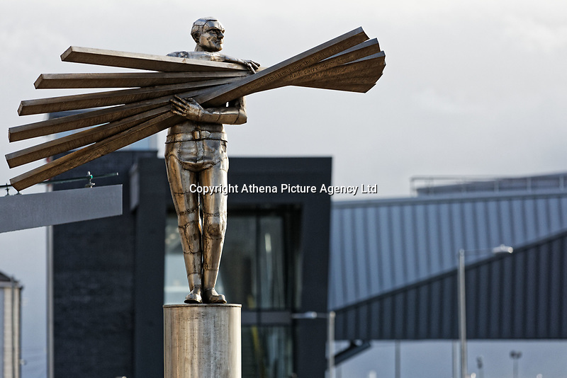 Pictured: Sebastien Boyesen's Stainless Steel sculpture, Man of steel in Port Talbot, Wales, UK. Monday 29 January 2018<br /> Re: Some of the Port Talbot steel workers' pensions are under threat after being persuaded to change providers.