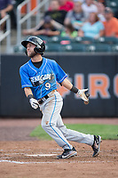 Deion Tansel (9) of the Hudson Valley Renegades follows through on his swing against the Aberdeen IronBirds at Leidos Field at Ripken Stadium on July 27, 2017 in Aberdeen, Maryland.  The Renegades defeated the IronBirds 2-0 in game one of a double-header.  (Brian Westerholt/Four Seam Images)
