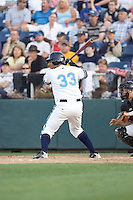 July 4, 2009: Everett AquaSox's Juan Fuentes at-bat during a Northwest League game against the Yakima Bears at Everett Memorial Stadium in Everett, Washington.