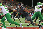 Hercules Mata'afa (50), Washington State defensive lineman, dials in on a safety during the Cougars Pac-12 Conference game against the Oregon Ducks on October 1, 2016.   The Cougs defeated the Ducks at Martin Stadium, 51-33.