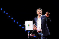 Il Presidente del Consiglio Matteo Renzi <br /> Italian Premier and Democratic Party secretary Matteo Renzi <br /> Torino 12-04-2014 PalaIsozaki <br /> Apertura Campagna elettorale elezioni europee Partito Democratico <br /> Opening European elections campaign of the Democratic Party<br /> Foto Giorgio Perottino / Insidefoto