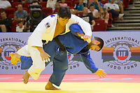 Alan Khubetsov (bottom) of Russia and Kenya Kohara (top) of Japan fight during the Men -81 kg category at the Judo Grand Prix Budapest 2018 international judo tournament held in Budapest, Hungary on Aug. 11, 2018. ATTILA VOLGYI