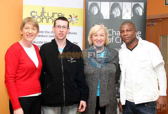Geraldine Clarke, DYD, Mirium Farrell, Youth Work Ireland, Stephen Harrison, Youth Work Ireland and Ade at the Culture Connect Day in The Barbican...(Photo credit should read Jenny Matthews www.newsfile.ie)....This Picture has been sent you under the conditions enclosed by:.Newsfile Ltd..The Studio,.Millmount Abbey,.Drogheda,.Co Meath..Ireland..Tel: +353(0)41-9871240.Fax: +353(0)41-9871260.GSM: +353(0)86-2500958.email: pictures@newsfile.ie.www.newsfile.ie.
