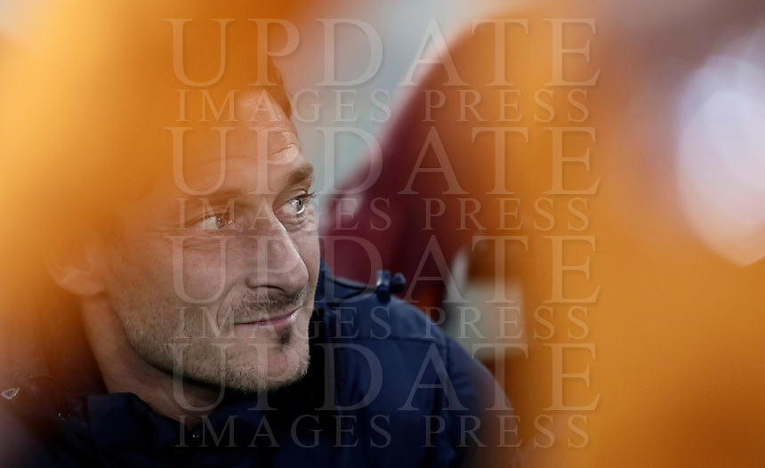 Football Soccer: Europa League Round of 16 second leg, Roma-Lyon, stadio Olimpico, Roma, Italy, March 16, 2017. <br /> Roma's Francesco Totti waits for the start of the Europe League football soccer match between Roma and Lyon at the Olympique stadium, March 16,  2017. <br /> Despite losing 2-1, Lyon reach the quarter finals for 5-4 aggregate win.<br /> UPDATE IMAGES PRESS/Isabella Bonotto