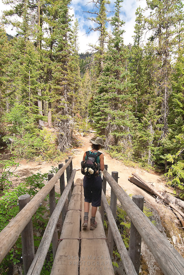Hiking the trail to Colchuck Lake, Alpine Lakes Wilderness, WA.