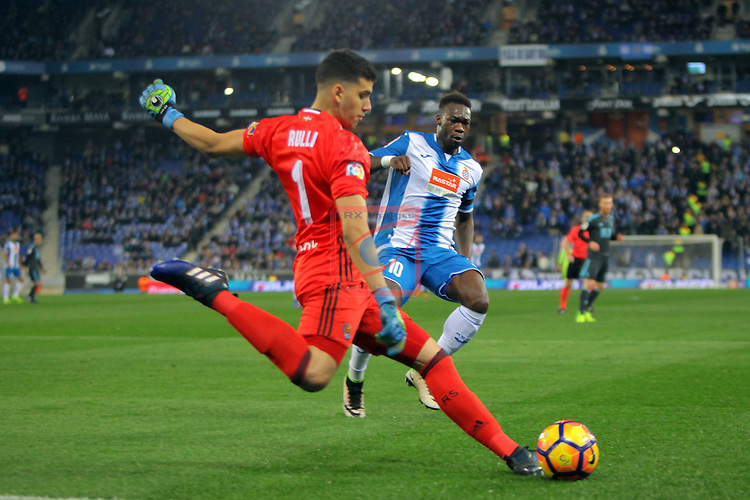League Santander 2016/2017. Game: 22.<br /> RCD Espanyol vs Real Sociedad: 1-2.<br /> Rulli vs Felipe Caicedo.