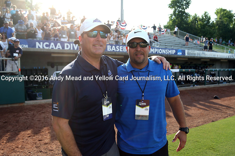 04 June 2016: Nova Southeastern Director of Athletics Michael Mominey (left) with<br /> <br />  The Nova Southeastern University Sharks played the Millersville University Marauders in Game 14 of the 2016 NCAA Division II College World Series  at Coleman Field at the USA Baseball National Training Complex in Cary, North Carolina. Nova Southeastern won the game 8-6 and clinched the NCAA Division II Baseball Championship.