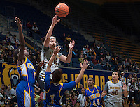Hind Ben Abdelkader of California passes the ball during the game against Bakersfield at Haas Pavilion in Berkeley, California on December 15th, 2013.  California defeated Bakersfield Roadrunners, 70-51.