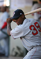 2007:  Devern Hansack of the Pawtucket Red Sox, Class-AAA affiliate of the Boston Red Sox, during the International League baseball season.  Photo by Mike Janes/Four Seam Images