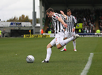 Paul Dummett clears in the St Mirren v Celtic Clydesdale Bank Scottish Premier League match played at St Mirren Park, Paisley on 20.10.12.