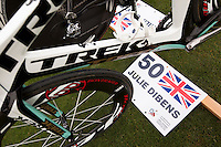 12 MAR 2010 - ABU DHABI, UAE - Julie Dibens position marked in transition at the  Abu Dhabi International Triathlon .(PHOTO (C) NIGEL FARROW)
