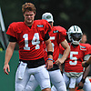 Sam Darnold #14 of the New York Jets stretches during Training Camp at the Atlantic Health Jets Training Center in Florham Park, NJ on Tuesday, Aug. 7, 2018.