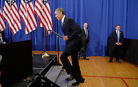 United States President Barack Obama arrives on stage at Benjamin Banneker Academic High School to speak about the progress that has been made over the last eight years by the Obama Administration to improve education across the country on October 17, 2016 in Washington, DC. <br /> Credit: Olivier Douliery / Pool via CNP /MediaPunch