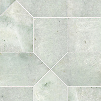Maxfield Grand, a hand-cut stone mosaic, shown in polished Ming Green, is part of the Semplice™ collection for New Ravenna.