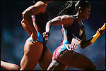 Team USA competes in the women's 4x 400m relay, Summer Olympics, Sydney, Australia, September 2000