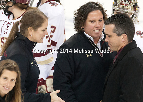 Katie King Crowley (BC - Head Coach), Courtney Kennedy (BC - Associate Head Coach), Doug Derraugh (Cornell - Head Coach) - The Boston College Eagles defeated the visiting Cornell University Big Red 6-2 on Friday, October 24, 2014, at Kelley Rink in Conte Forum in Chestnut Hill, Massachusetts.