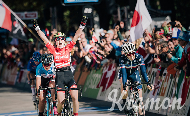 Current Junior MTB World Champion Laura Stigger (AUT) beats Marie Le Net (FRA) & Simone Boilard (CAN) on the finish line in only her 2nd road race ever...<br /> <br /> WOMEN JUNIOR ROAD RACE<br /> Rattenberg to Innsbruck: 71.7 km<br /> <br /> UCI 2018 Road World Championships<br /> Innsbruck - Tirol / Austria