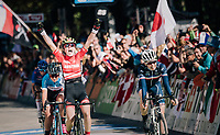 Current Junior MTB World Champion Laura Stigger (AUT) beats Marie Le Net (FRA) &amp; Simone Boilard (CAN) on the finish line in only her 2nd road race ever...<br /> <br /> WOMEN JUNIOR ROAD RACE<br /> Rattenberg to Innsbruck: 71.7 km<br /> <br /> UCI 2018 Road World Championships<br /> Innsbruck - Tirol / Austria