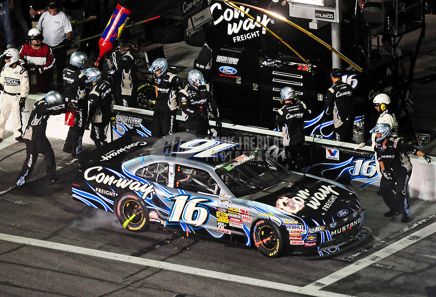 Jul. 2, 2010; Daytona Beach, FL, USA; NASCAR Nationwide Series driver Brian Ickler pits during the Subway Jalapeno 250 at Daytona International Speedway. Mandatory Credit: Mark J. Rebilas-