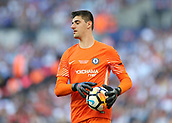 19th May 2018, Wembley Stadium, London, England; FA Cup Final football, Chelsea versus Manchester United; Goalkeeper Thibaut Courtois of Chelsea keeps hold of the ball