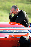 Sept. 5, 2010; Clermont, IN, USA; NHRA pro mod driver Scott Ray reacts after losing in the first round during the U.S. Nationals at O'Reilly Raceway Park at Indianapolis. Mandatory Credit: Mark J. Rebilas-