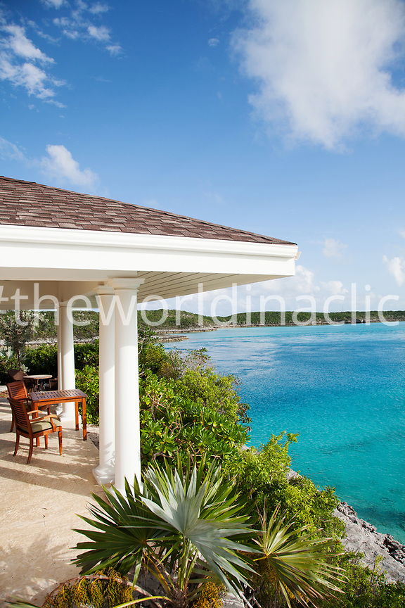 EXUMA, Bahamas. A view of the Birdcage Villa on the Fowl Cay Resort.