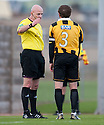 East Fife's Craig Johnstone is sent off.