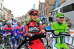 Taylor Phinney (USA) BMC Racing Team and Edward King (USA) Cannondale chat on the start line of the 56th edition of the E3 Harelbeke, Belgium, 22nd  March 2013 (Photo by Eoin Clarke 2013)