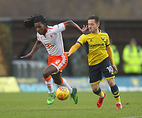 Blackpool's Sessi D'Almeida battles with Oxford United's Jack Payne<br /> <br /> Photographer Mick Walker/CameraSport<br /> <br /> The EFL Sky Bet League One - Oxford United v Blackpool - Saturday 6th January 2018 - Kassam Stadium - Oxford<br /> <br /> World Copyright &copy; 2018 CameraSport. All rights reserved. 43 Linden Ave. Countesthorpe. Leicester. England. LE8 5PG - Tel: +44 (0) 116 277 4147 - admin@camerasport.com - www.camerasport.com