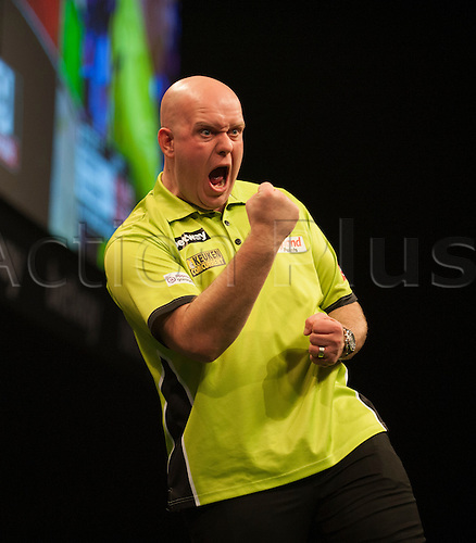 07.04.2016. The Sheffield Arena, Sheffield, England. Betway PDC Premier League Darts. Night 10.  Michael van Gerwen [NED] celebrates a 180 during his game with Robert Thornton [SCO].