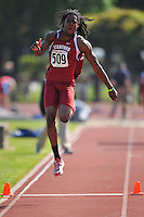 04 May 2008: Stanford's Richard Sherman during the Payton Jordan Cardinal Invitational at the Cobb Track and Angell Field in Stanford, CA.  Sherman finished third in the men's triple jump with a leap of 14.21 meters.